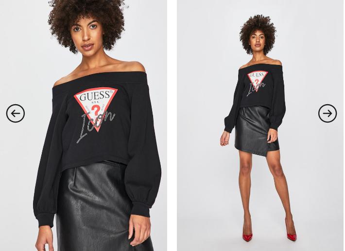 Guess Jeans - Bluza dama originala neagra cu logo in fata moderna