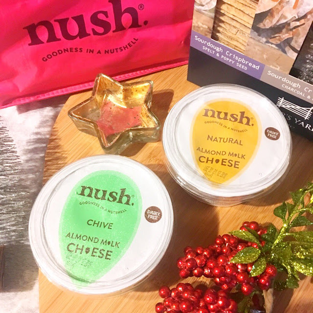 Nush spreadable cheese pots, Peter's Yard crackers, christmas props