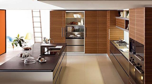 Tủ bếp gỗ Laminate với bàn đảo sang trọng