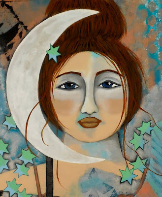Close View of Mermaid and Patina Moon Original Contemporary Folk Painting