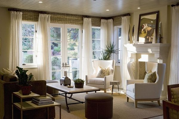 Window treatment ideas for the living room house plans for Living room window blinds
