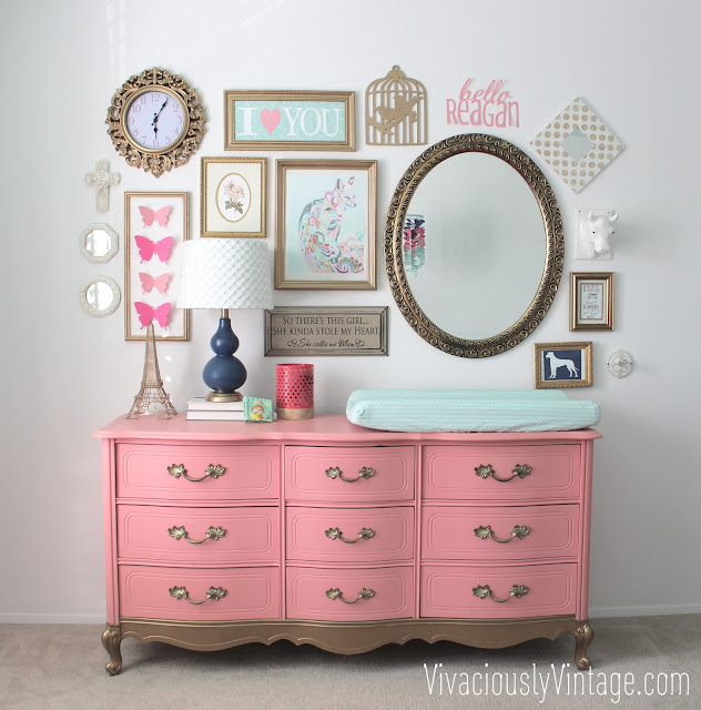 Coral and gold painted french provincial dresser