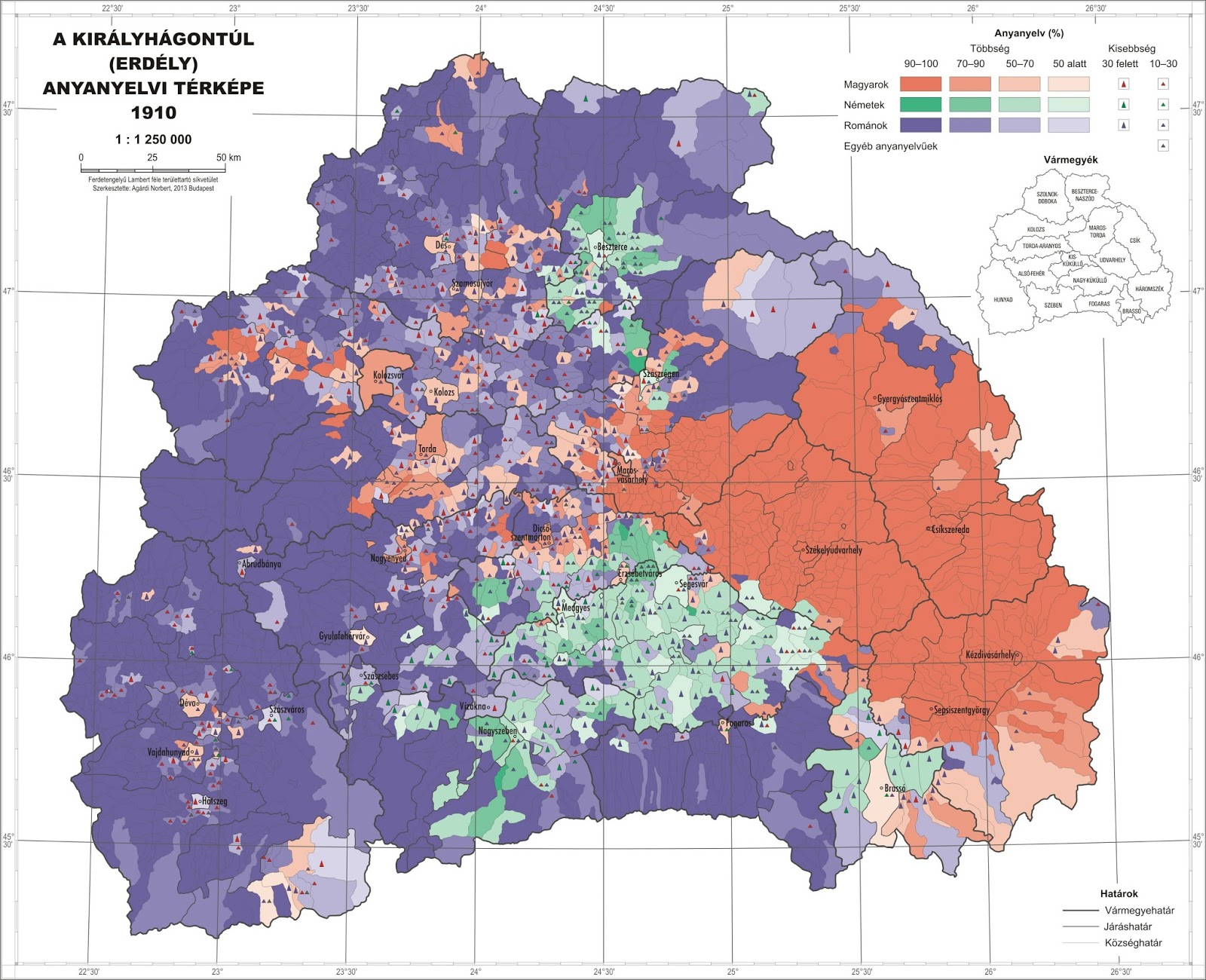 Linguistic composition of Transylvania by municipality (1910)