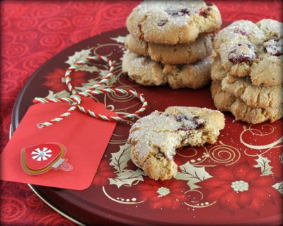 Macadamia Nut-Butter Cookies with Dried Cranberries & Fresh Nutmeg, cookies crisp on the outside, chewy in the center, lightly spiced with fresh nutmeg. Another long-time, bite-sized favorite Christmas cookie recipe from Kitchen Parade.