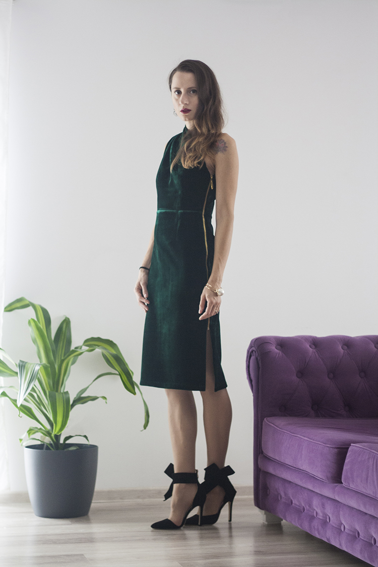 Skinny Buddha green velvet dress