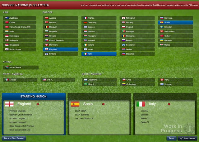 Football Manager 2013 - Starting Screen - Choose leagues