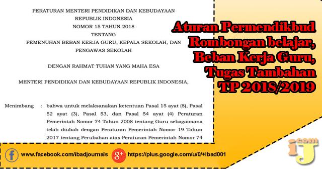 ada sedikit pembenahan perihal hukum Rombongan berguru Aturan Rombel,Beban Kerja Guru,Tugas Tambahan TP 2018/2019