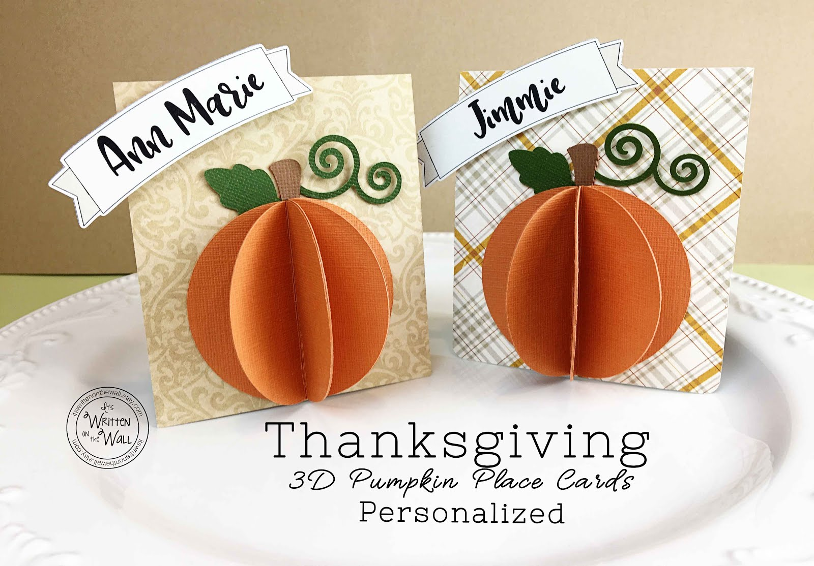 Thanksgiving 3D Pumpkin Place Cards
