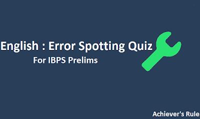 English Mini Practice Quiz Set - Error Spotting