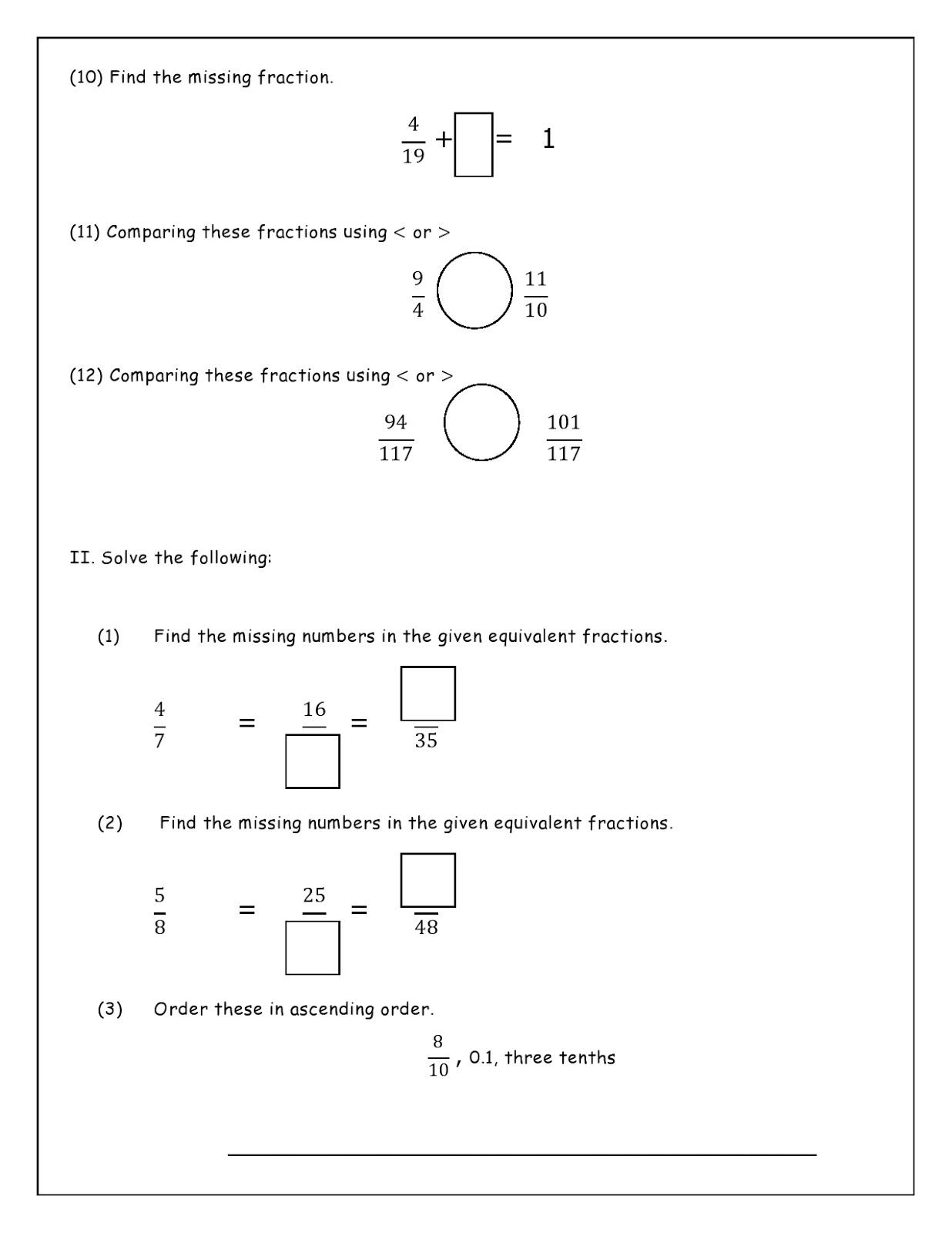 Birla World School Oman Revision Worksheets For Grade 4 As On 26 10