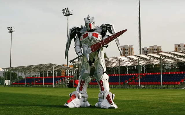 This is Vayar - Belarus' new eight-foot tall, sword-swinging robot mascot