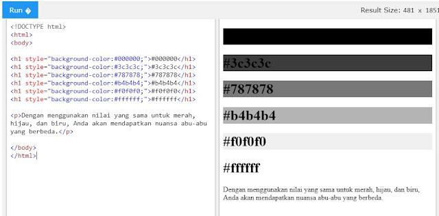 Nilai HEX pada HTML