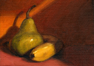 Oil painting of a green pear with a banana curving around its base.