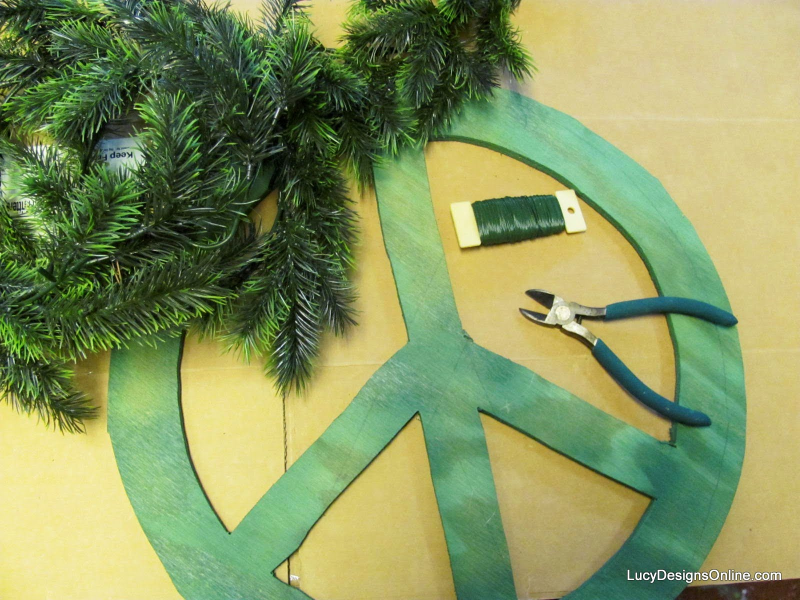 diy peace sign wreath and supplies