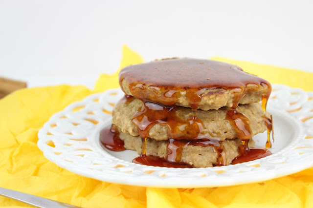 healthy oat pancakes with orange and honey
