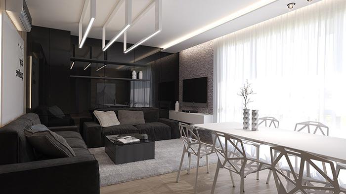 geniş camlı siyah oturma odası dekorasyonu
