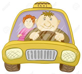 Resultado de imagen para dibujo de un taxista y una señora