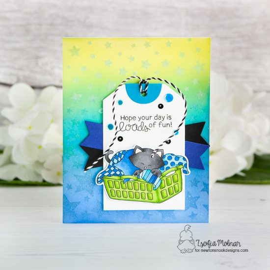 Cat Card with Laundry by Zsofia Molnar | Newton Cleans Up Stamp Set by Newton's Nook Designs #newtonsnook #handmade