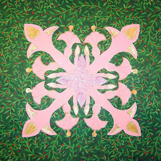 4-way pattern on paper inspired by Hawaiian quilts