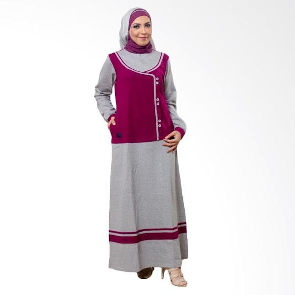 Gamis Syari Trendy Cotton Warna Abu Abu Baju Muslim Gamis