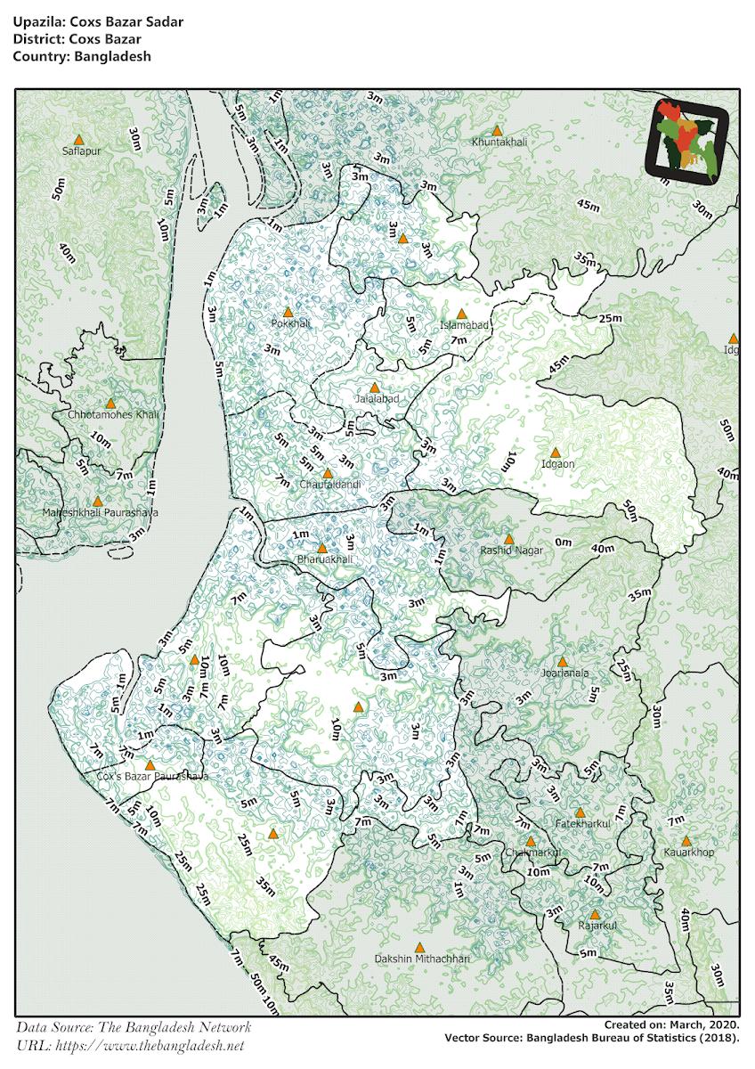 Cox's Bazar Sadar Upazila Elevation Map Cox's Bazar District Bangladesh