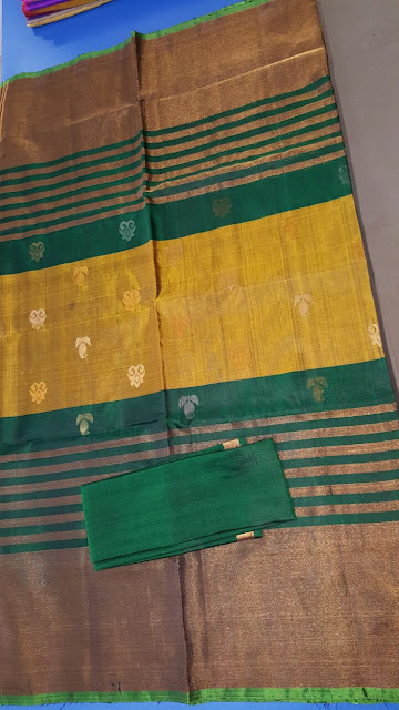 Uppada Handloom green color Silk Saree with small flover butta