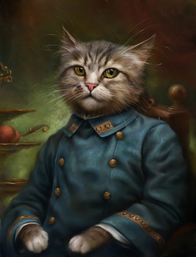07-The-Hermitage-Court-Confectioner-Apprentice-Eldar-Zakirov-Digital-Art-Illustrations-of-Smartly-Dressed-Cats-www-designstack-co