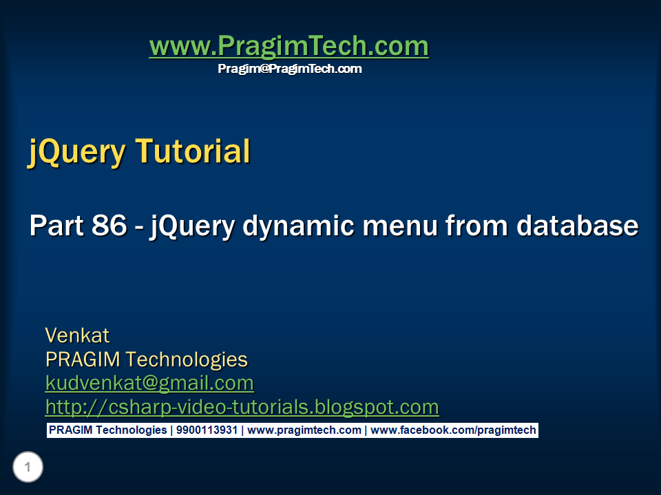 Sql server,  net and c# video tutorial: jQuery dynamic menu