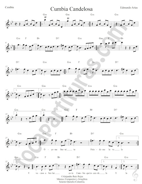 Cumbia Candelosa de Edmundo Arias Partitura Fácil con Acordes Easy Sheet Music with Chords