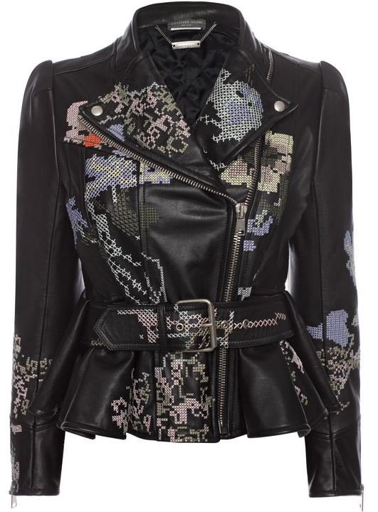 Cross Stitch Leather Jacket
