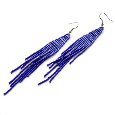 купить Темно-синие серьги из бисера. Стильные вечерние серьги купить синие серьги
