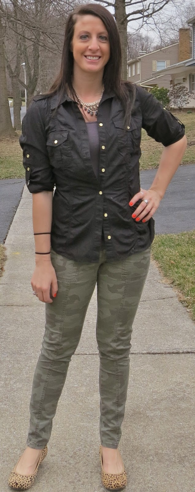 leopard flats, camo pants, black blouse, casual, outfit, fashion, target