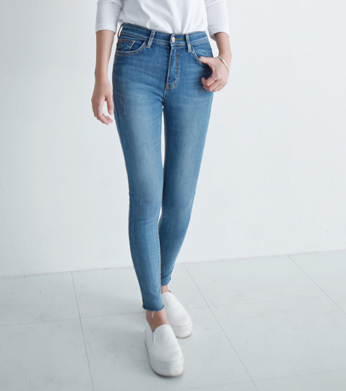 High Waist Scratched Washed Skinny Jeans