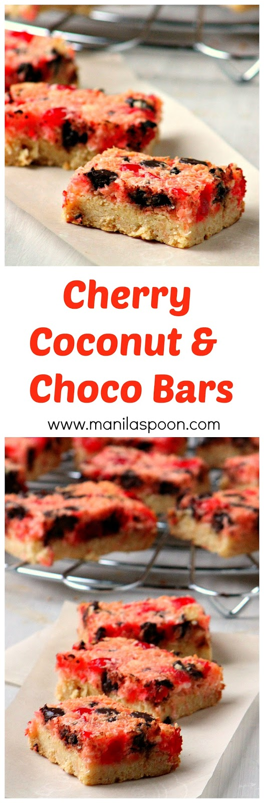 Cherries, coconut and chocolate plus cream cheese all combine to make these bars totally scrumptious!