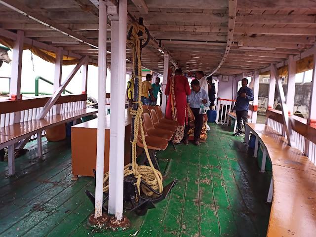 Inside ferry to Elephanta Island