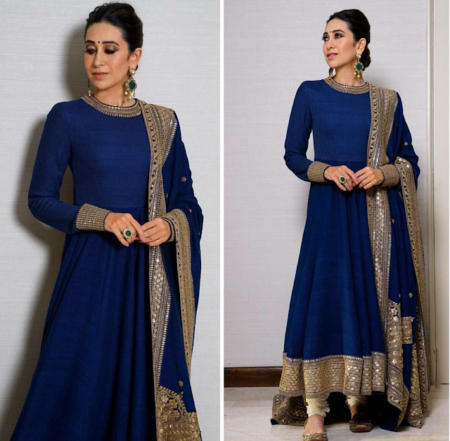 Karisma Kapoor wearing a floor length navy blue suit by designer Sabyasachi