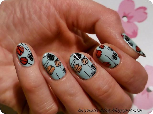 Kolorowane tulipany na paznokciach