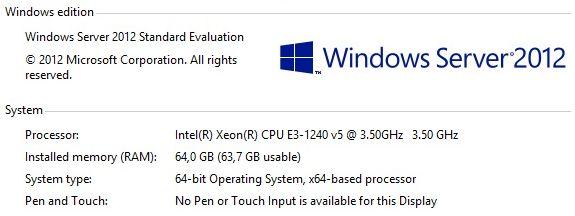 Intel® Xeon® E3-1240V5 e Memória 64GB