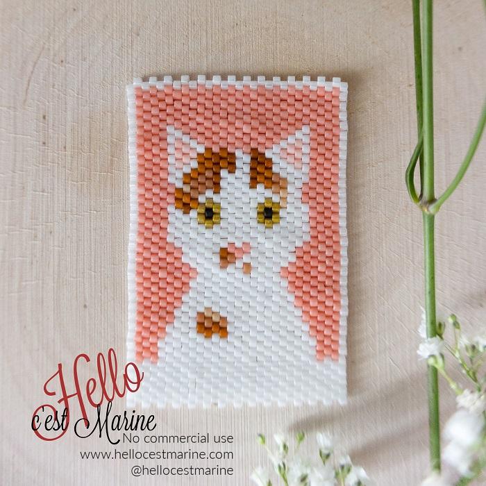 Chat roux et blanc, diagramme pour tissage en perles Miyuki delicas 11/0, par Hello c'est Marine