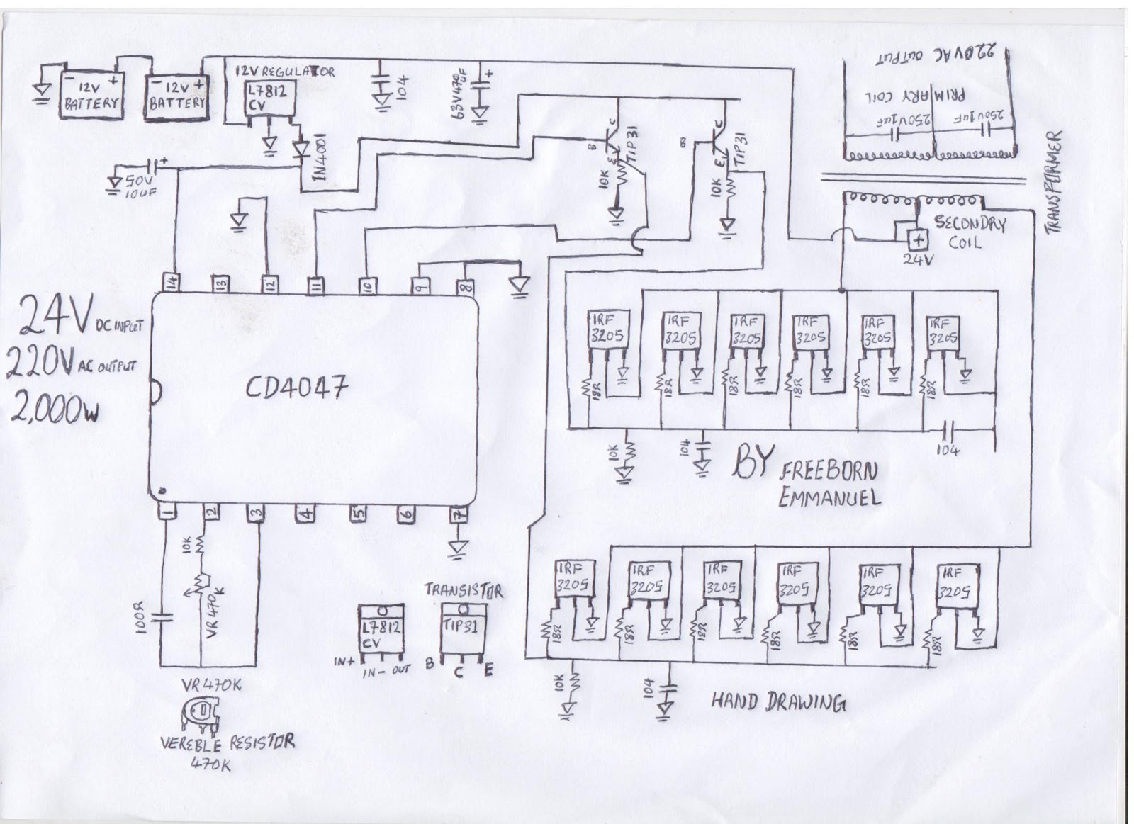 how to build a 2KVA inverter circuit diagram : 2000 watt