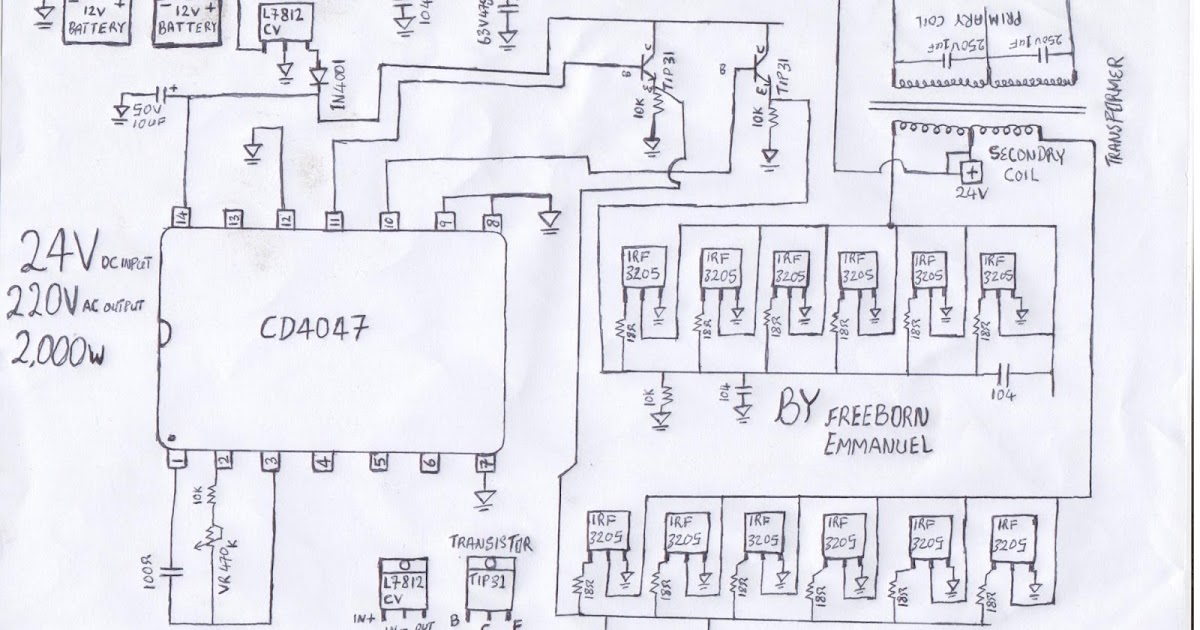 how to build a 2KVA inverter circuit diagram : 2000 watt