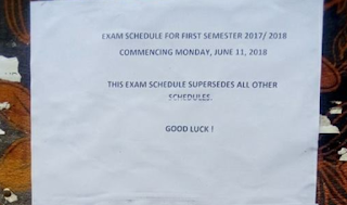 Federal Poly Oko 1st Semester Examination Time-Table - 2017/2018