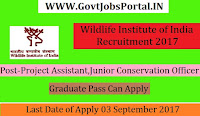 Wildlife Institute of India Recruitment 2017– 25 Junior Conservation Officer, Project Assistant