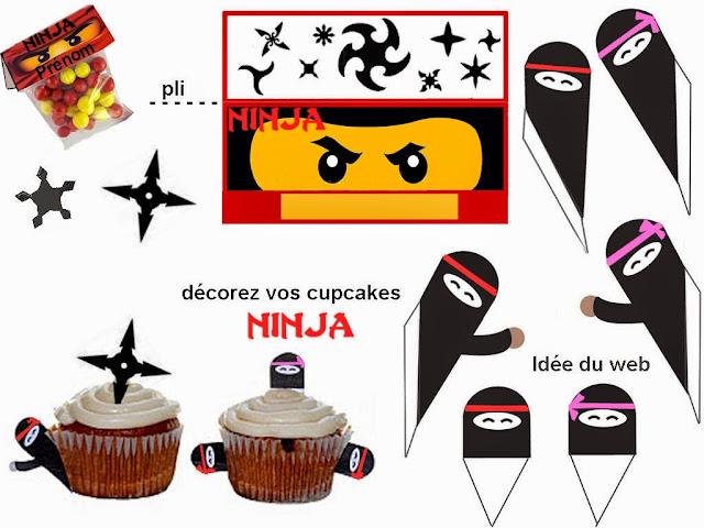 Bolsa de Golosinas y Decoracion para Cupcake de Ninja para Imprimir Gratis.