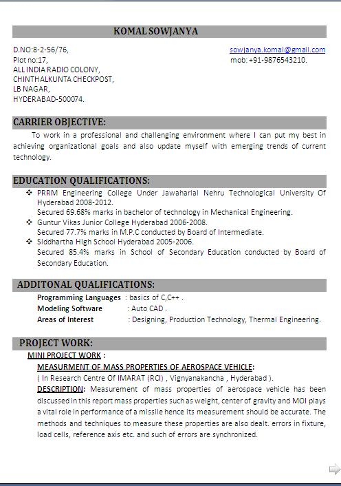 Fresher Mechanical Engineering Student Resume Format in Word