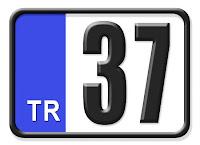 Kastamonu ilinin plakası olan 37 kodunu gösteren küçük plaka