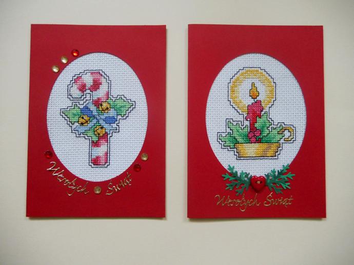 kartki świąteczne z haftem