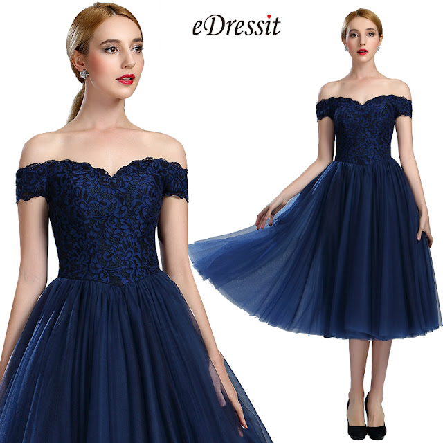 eDressit Off Shoulder Blue Lace Cocktail Party Dress