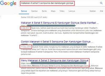 Contoh tanggal postingan artikel blog di hasil penelusuran mesin pencari