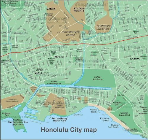 Mapa da cidade de Honolulu - Havaí